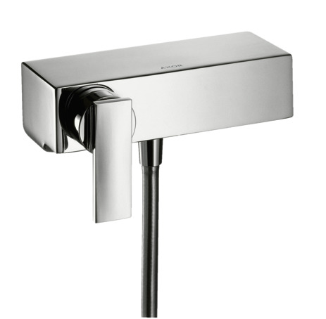Single lever manual shower mixer for exposed installation with lever handle