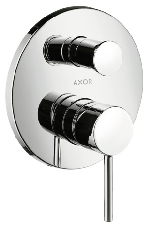 Single lever manual bath mixer for concealed installation with pin handle and integrated backflow prevention