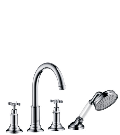4-hole rim mounted bath mixer with cross handles