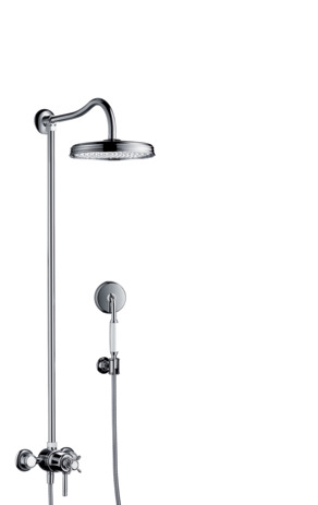 Showerpipe with thermostat and overhead shower 1jet