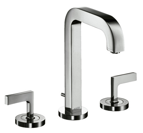 3-hole basin mixer 170 with spout 140 mm, lever handles, escutcheons and pop-up waste