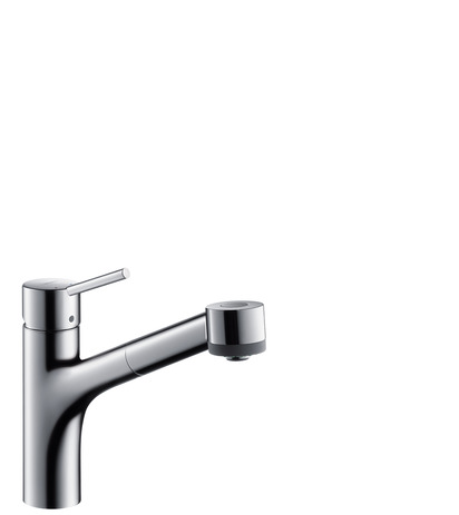 Single lever kitchen mixer 170, LowPressure/vented hot water cylinders, pull-out spray, 2jet