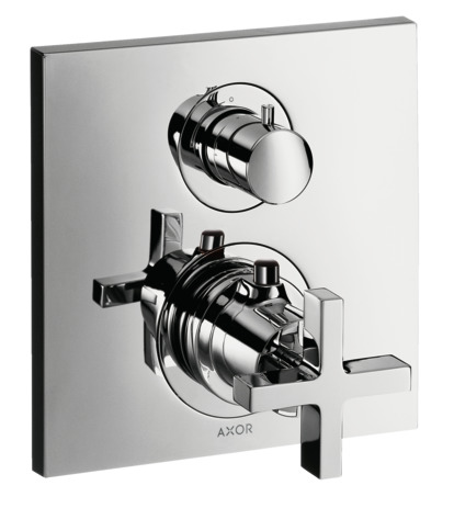 Thermostatic mixer for concealed installation with shut-off valve and cross handle