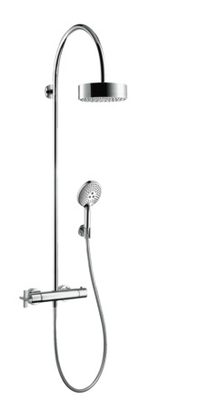 Showerpipe with thermostatic mixer and 1jet overhead shower 180