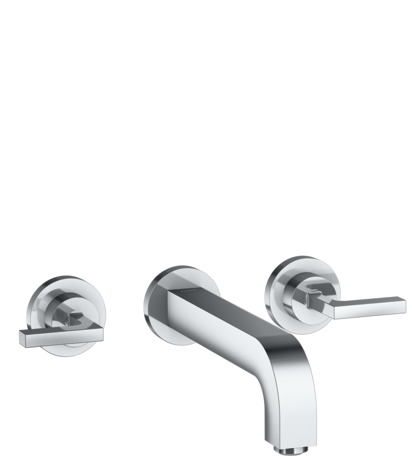 3-hole basin mixer for concealed installation wall-mounted with spout 222 mm, lever handles and escutcheons
