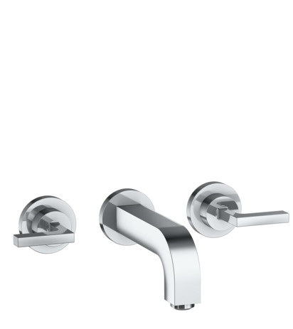 3-hole basin mixer for concealed installation wall-mounted with spout 162 mm, lever handles and escutcheons