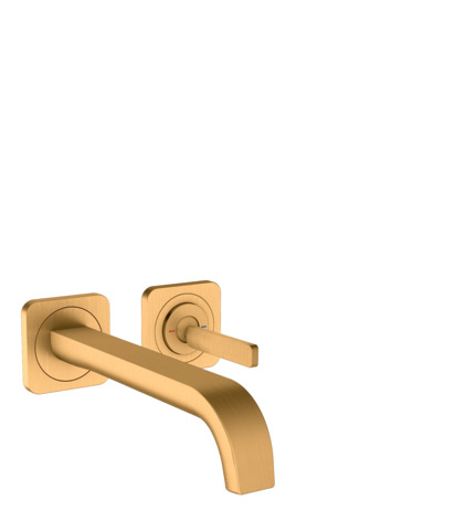 Single lever basin mixer for concealed installation wall-mounted with pin handle, spout 221 mm and escutcheons
