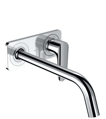 Single lever basin mixer for concealed installation wall-mounted with spout 227 mm and plate