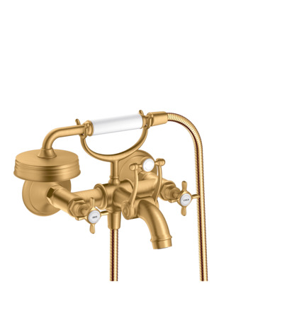 2-handle bath mixer for exposed installation with cross handles