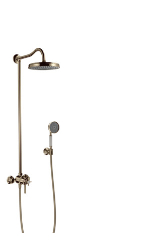 Showerpipe with thermostatic mixer and 1jet overhead shower