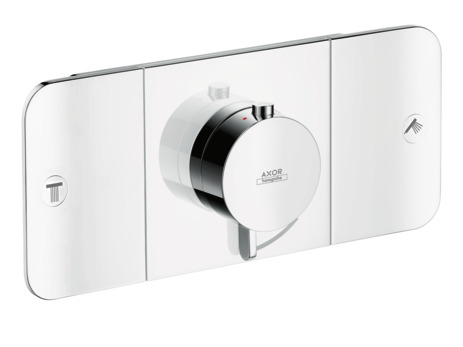 Thermostatic module for concealed installation for 2 outlets