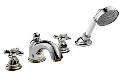 4-hole rim-mounted bath and shower mixer with cross handles