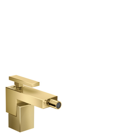 Single lever bidet mixer with push-open waste set - diamond cut