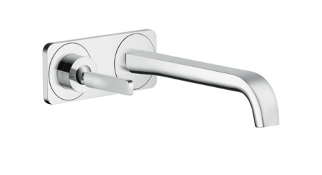 Single lever basin mixer for concealed installation wall-mounted with pin handle, spout 221 mm and plate