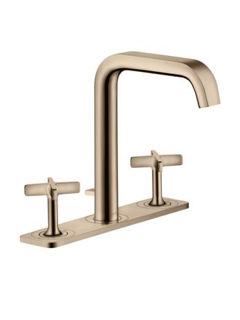 3-hole basin mixer 170 with plate and pop-up waste