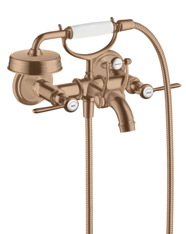 2-handle bath mixer for exposed installation with lever handles