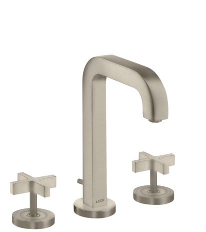 3-hole basin mixer 170 with spout 140 mm, cross handles, escutcheons and pop-up waste