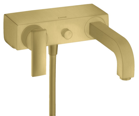 Single lever bath mixer for exposed installation with lever handle