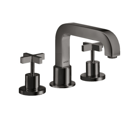 3-hole rim-mounted bath mixer with cross handles