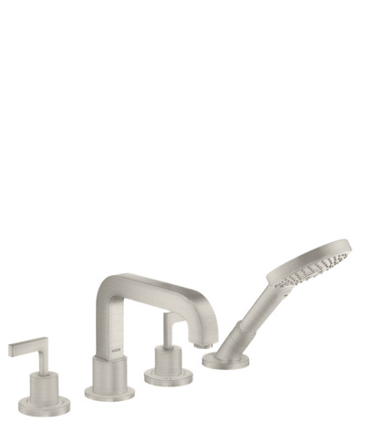 4-hole rim mounted bath mixer with lever handles