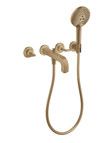 3-hole bath mixer for concealed installation wall-mounted with lever handles and escutcheons