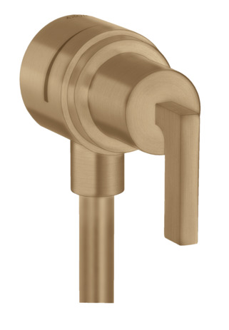 Wall outlet stop with non-return valve, shut-off valve and lever handle