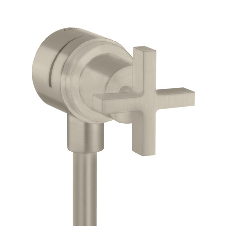 Wall outlet stop with non-return valve, shut-off valve and cross handle