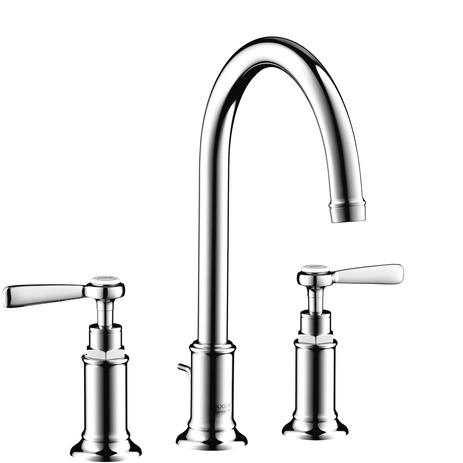 Widespread Faucet 180 with Lever Handles and Pop-Up Drain, 1.2 GPM