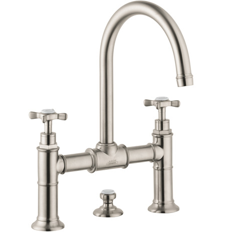 2-Handle Faucet 220 with Cross Handles and Pop-Up Drain, 1.2 GPM
