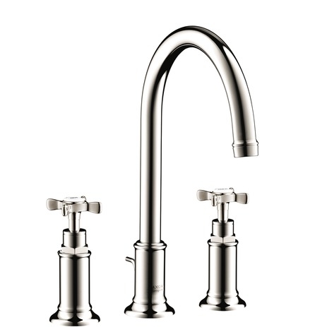 Widespread Faucet 180 with Cross Handles and Pop-Up Drain, 1.2 GPM