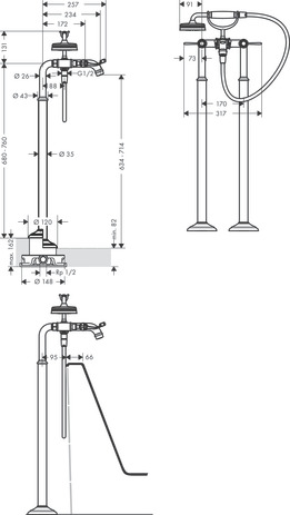 2-handle bath mixer floor-standing with lever handles