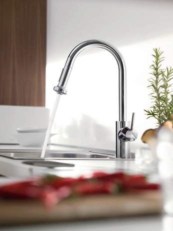 Single lever kitchen mixer 220, installation in front of a window, pull-out spray, 2jet