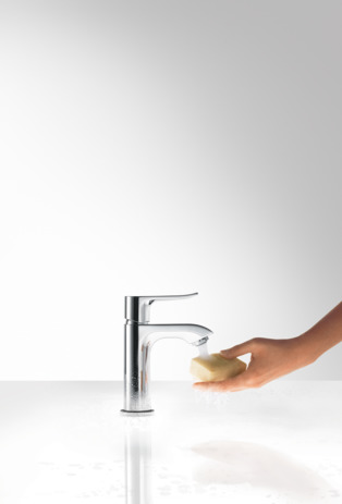 Single lever basin mixer 100 for cloakroom basins with pop-up waste