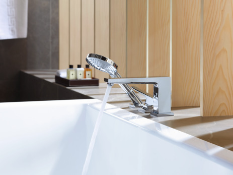 3-hole rim mounted single lever bath mixer with lever handle and Secuflex