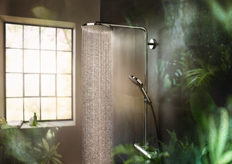 Showerpipe 240 1jet PowderRain mit Ecostat Comfort Thermostat
