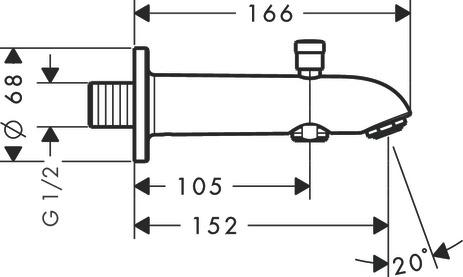 hansgrohe Bath fillers: Bath spout 15.2 cm with diverter