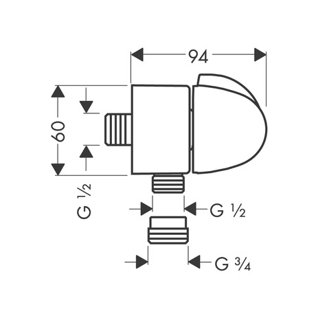 Wall outlet E stop with non-return valve and shut-off valve