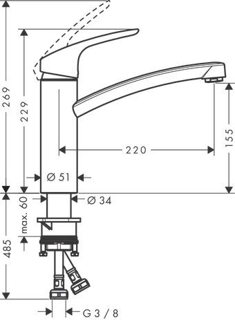 hansgrohe k chenmischer focus einhebel k chenmischer 160 31806000. Black Bedroom Furniture Sets. Home Design Ideas