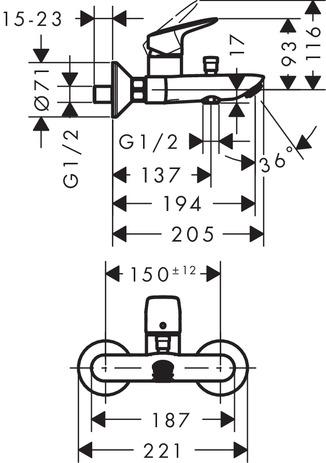 Jednouchwytowa bateria wannowa, montaż natynkowy, DN15