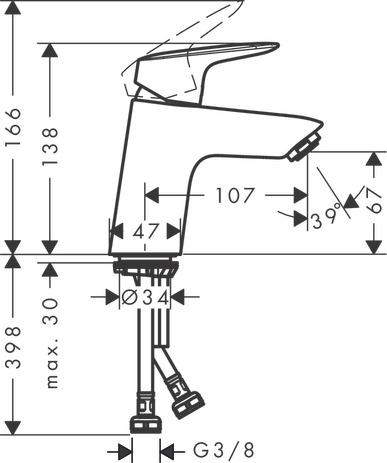 Jednouchwytowa bateria umywalkowa 70, bez kompletu odpływowego, DN15