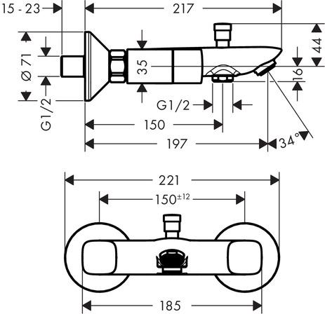 hansgrohe Logis: Logis, 2-handle manual bath mixer for
