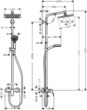 Showerpipe 240 1jet with single lever mixer