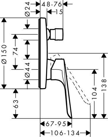 Logis E Bath mixers: 2 outlets, Chrome, 71404000