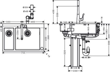 hansgrohe Sink combinations (bundle): C71, C71-F655-04