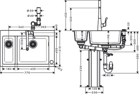 hansgrohe Sink combinations (bundle): C51, C51-F635-04