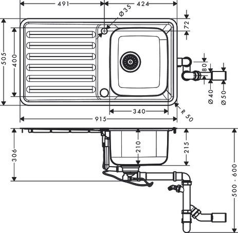 hansgrohe 43334800 S412-F340 Fregadero de encastre 340//400 color acero
