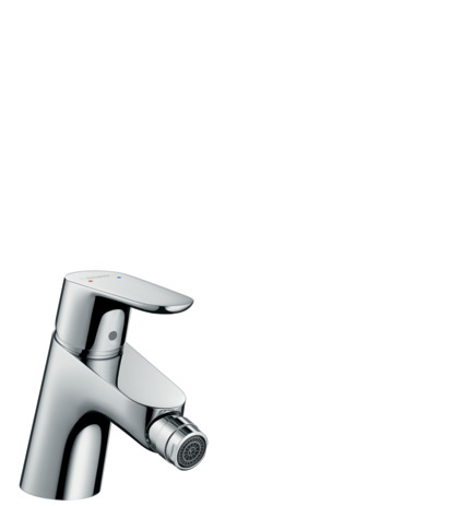 Single lever bidet mixer with 2 flow rates and pop-up waste