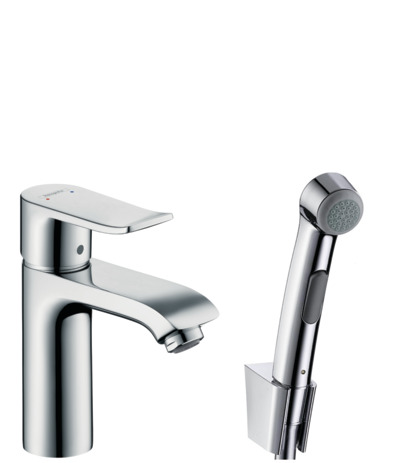 Single lever basin mixer with bidette hand shower and shower hose 160 cm
