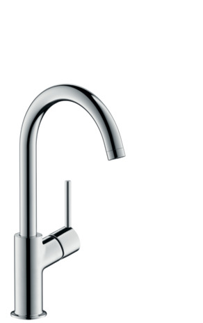 Single lever basin mixer 210 with swivel spout and push-open waste
