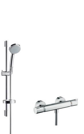 Shower system for exposed installation Vario with Ecostat Comfort thermostat and shower bar 65 cm